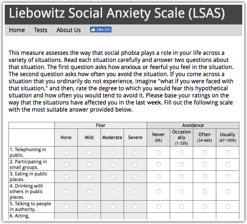 Social Anxiety Test -Liebowitz