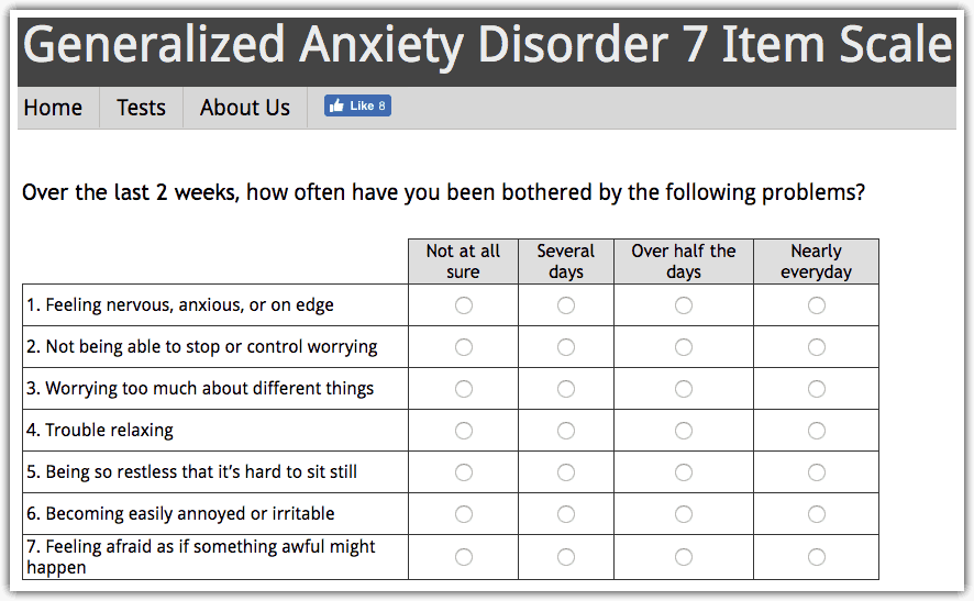 Generalized Anxiety Disorder Test: GAD-7